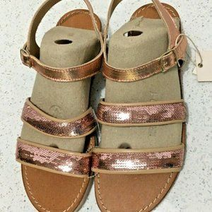 Mariella Sandals Ankle Strap 9 Pink Sequins Wedge